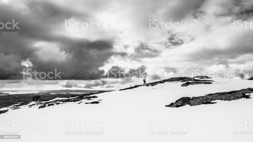 Black and White with a hiker under the clouds in snowy mountains - Royalty-free Bare Tree Stock Photo