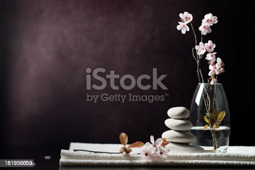 istock Black and white zen spa flower background 181956053