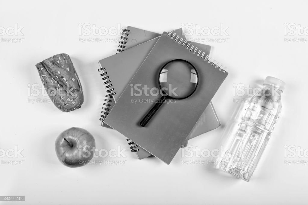 black and white.Back to school concept. school snack. lunchbox, stationery, Free space for text. Copy space. zbiór zdjęć royalty-free