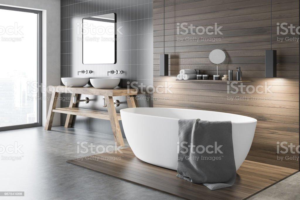 Black and wooden bathroom corner - foto stock