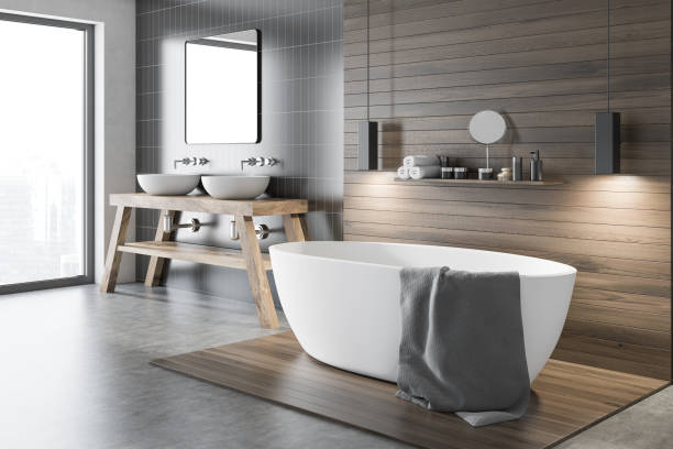 Black and wooden bathroom corner Black and wooden wall bathroom corner with a tub and a make up shelf. A double sink near a gray wall. Concept of a modern house design. 3d rendering domestic bathroom stock pictures, royalty-free photos & images