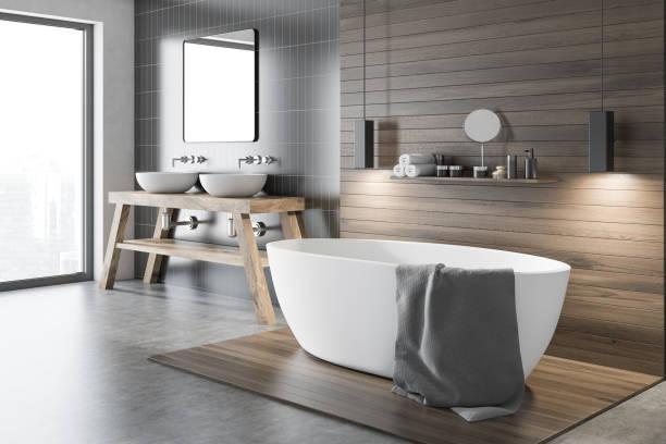 검은 나무 욕실 코너 - 욕실 뉴스 사진 이미지