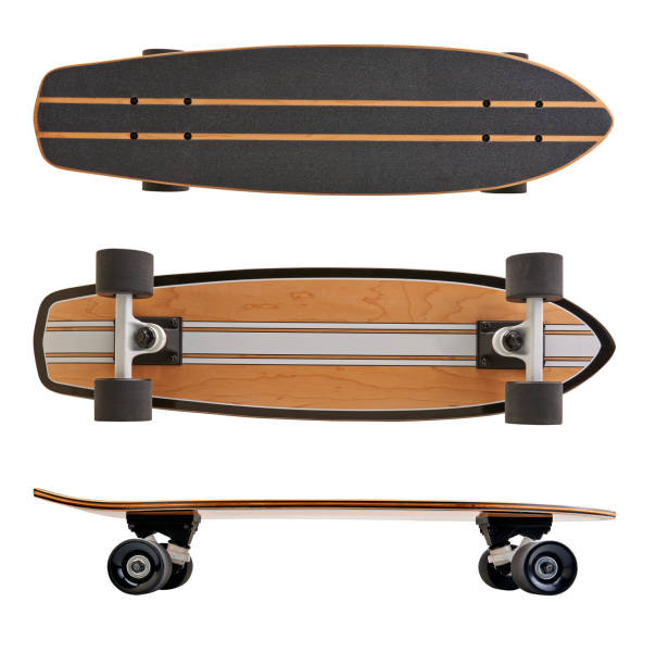 black and wooden skate board isolated - skateboard stock pictures, royalty-free photos & images