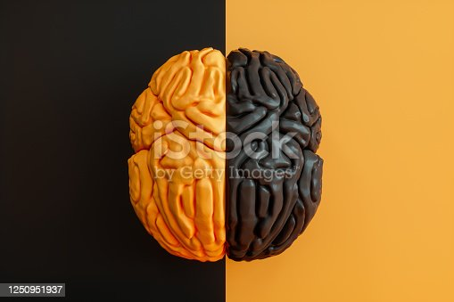 Black and Yellow Brain on Black and Yellow Background.