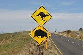 Black and Yellow Kangaroo and Wombat Crossing Warning Sign