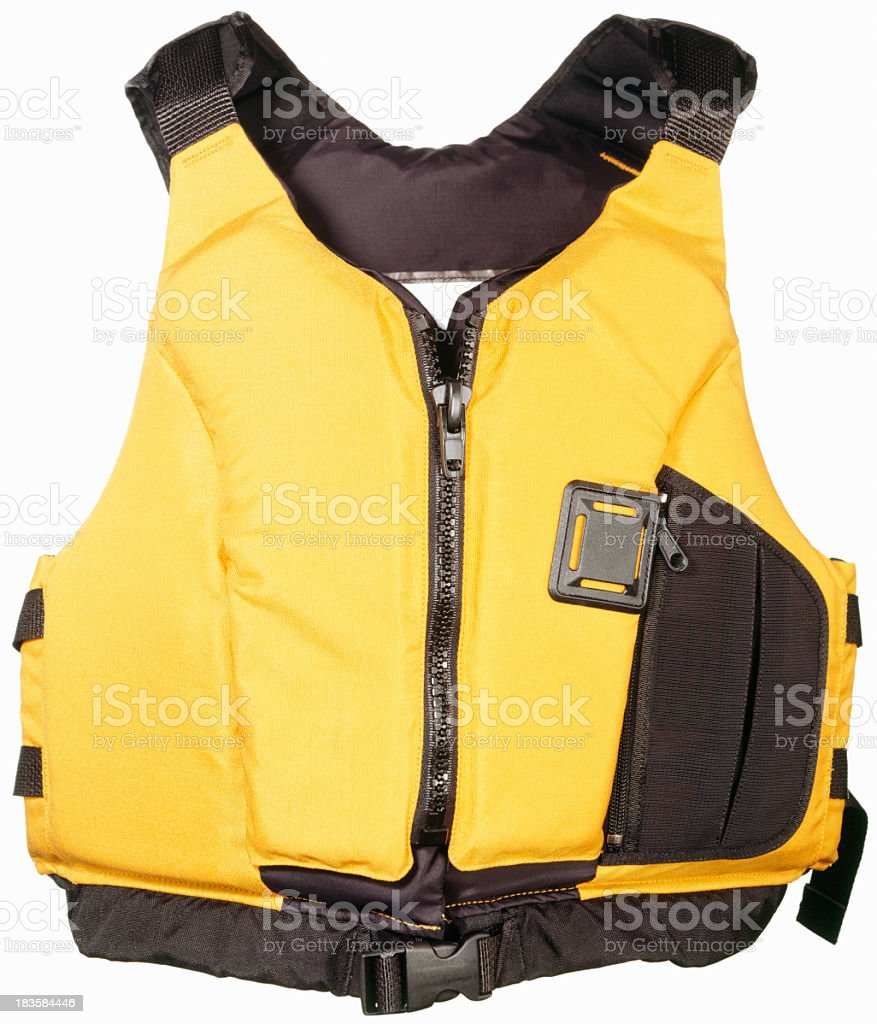 Black and yellow life jacket on plain background stock photo