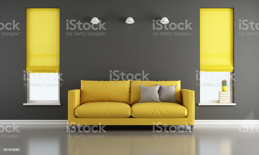 Black and yellow living room stock photo