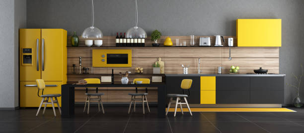 Black and yellow modern kitchen stock photo
