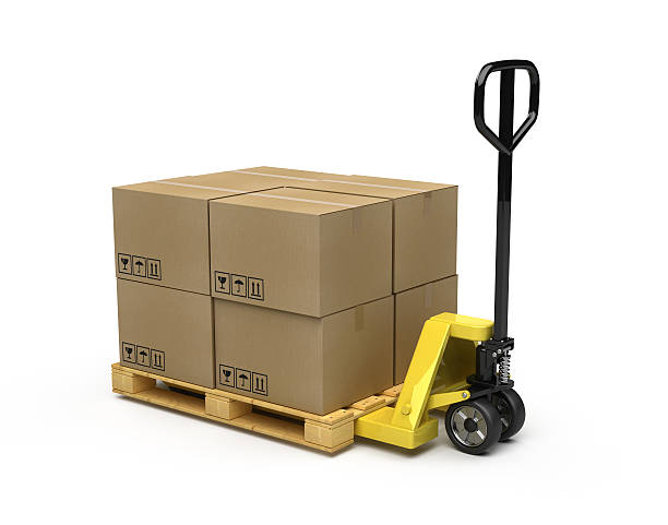 Black and yellow pallet truck carrying cardboard boxes  Pallet Truck and boxes on white background - 3d render pallet jack stock pictures, royalty-free photos & images