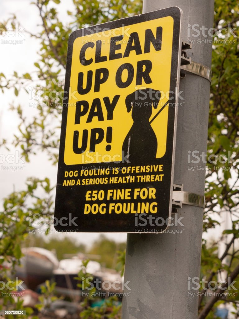 black and yellow sign outside on pole saying clean up or pay up dog fouling stock photo