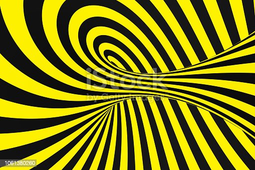 1061380420 istock photo Black and yellow spiral tunnel from police ribbons. Striped twisted hypnotic optical illusion. Warning safety background. 1061380260
