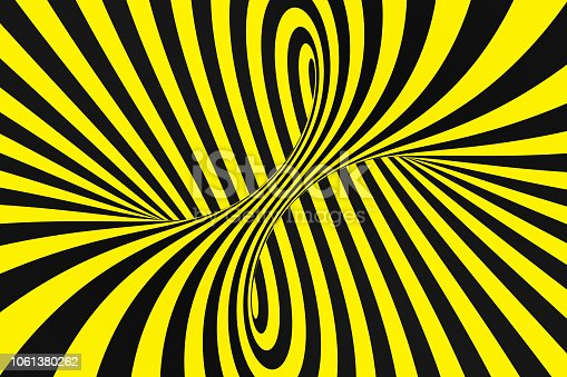 1061380420 istock photo Black and yellow spiral tunnel from police ribbons. Striped twisted hypnotic optical illusion. Warning safety background. 1061380262