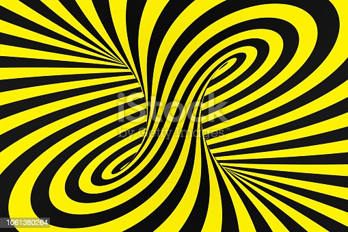 1061380420 istock photo Black and yellow spiral tunnel from police ribbons. Striped twisted hypnotic optical illusion. Warning safety background. 1061380264