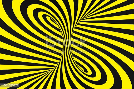 1061380420 istock photo Black and yellow spiral tunnel from police ribbons. Striped twisted hypnotic optical illusion. Warning safety background. 1061380272