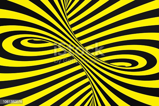 1061380420 istock photo Black and yellow spiral tunnel from police ribbons. Striped twisted hypnotic optical illusion. Warning safety background. 1061380274