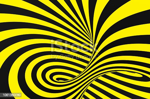1061380420 istock photo Black and yellow spiral tunnel from police ribbons. Striped twisted hypnotic optical illusion. Warning safety background. 1061380280