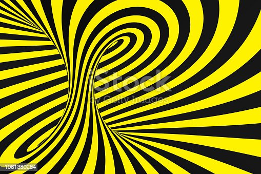 1061380420 istock photo Black and yellow spiral tunnel from police ribbons. Striped twisted hypnotic optical illusion. Warning safety background. 1061380284