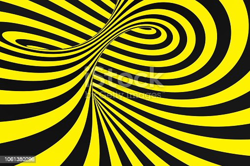 1061380420 istock photo Black and yellow spiral tunnel from police ribbons. Striped twisted hypnotic optical illusion. Warning safety background. 1061380296