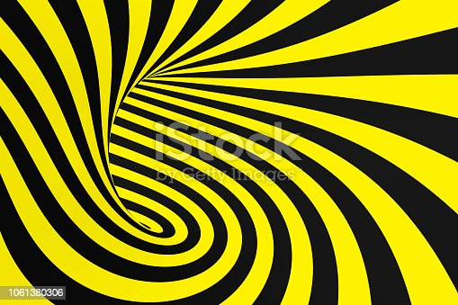 1061380420 istock photo Black and yellow spiral tunnel from police ribbons. Striped twisted hypnotic optical illusion. Warning safety background. 1061380306