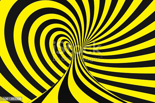 1061380420 istock photo Black and yellow spiral tunnel from police ribbons. Striped twisted hypnotic optical illusion. Warning safety background. 1061380308