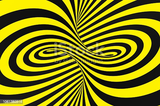 1061380420 istock photo Black and yellow spiral tunnel from police ribbons. Striped twisted hypnotic optical illusion. Warning safety background. 1061380314