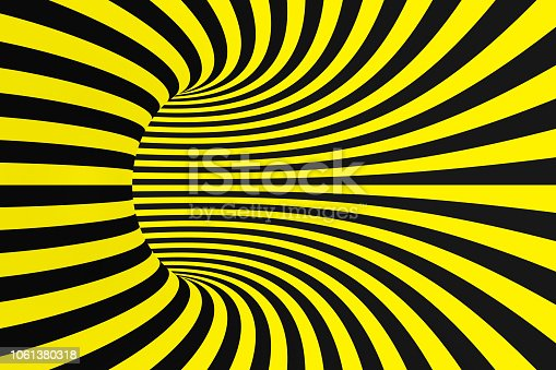 1061380420 istock photo Black and yellow spiral tunnel from police ribbons. Striped twisted hypnotic optical illusion. Warning safety background. 1061380318