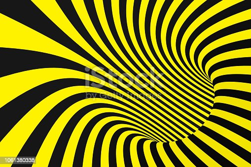 1061380420 istock photo Black and yellow spiral tunnel from police ribbons. Striped twisted hypnotic optical illusion. Warning safety background. 1061380338