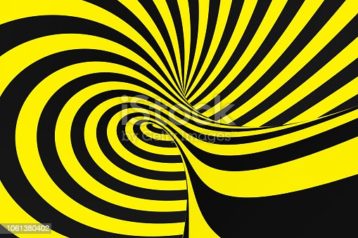1061380420 istock photo Black and yellow spiral tunnel from police ribbons. Striped twisted hypnotic optical illusion. Warning safety background. 1061380402