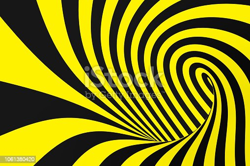 istock Black and yellow spiral tunnel from police ribbons. Striped twisted hypnotic optical illusion. Warning safety background. 1061380420