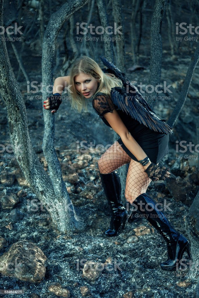 Black Angel in the burned forest stock photo