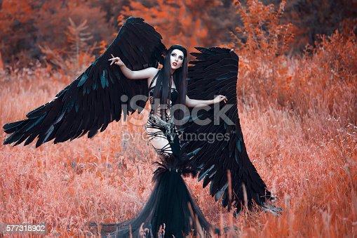 istock Black Angel. Pretty girl-demon 577318902