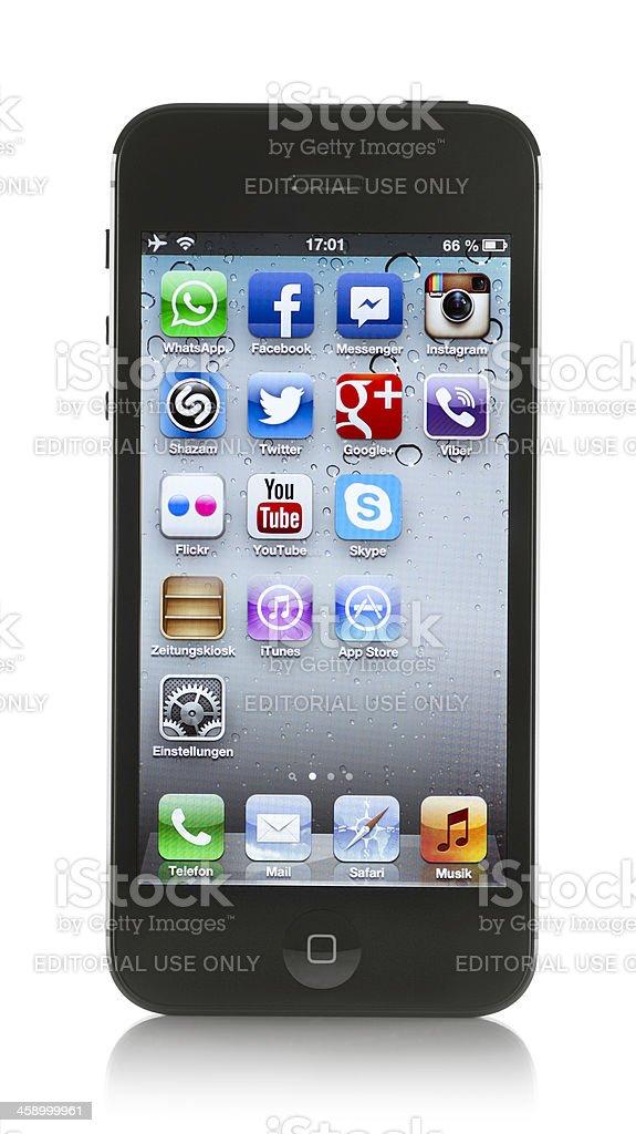 Black Apple iPhone 5 on white background royalty-free stock photo