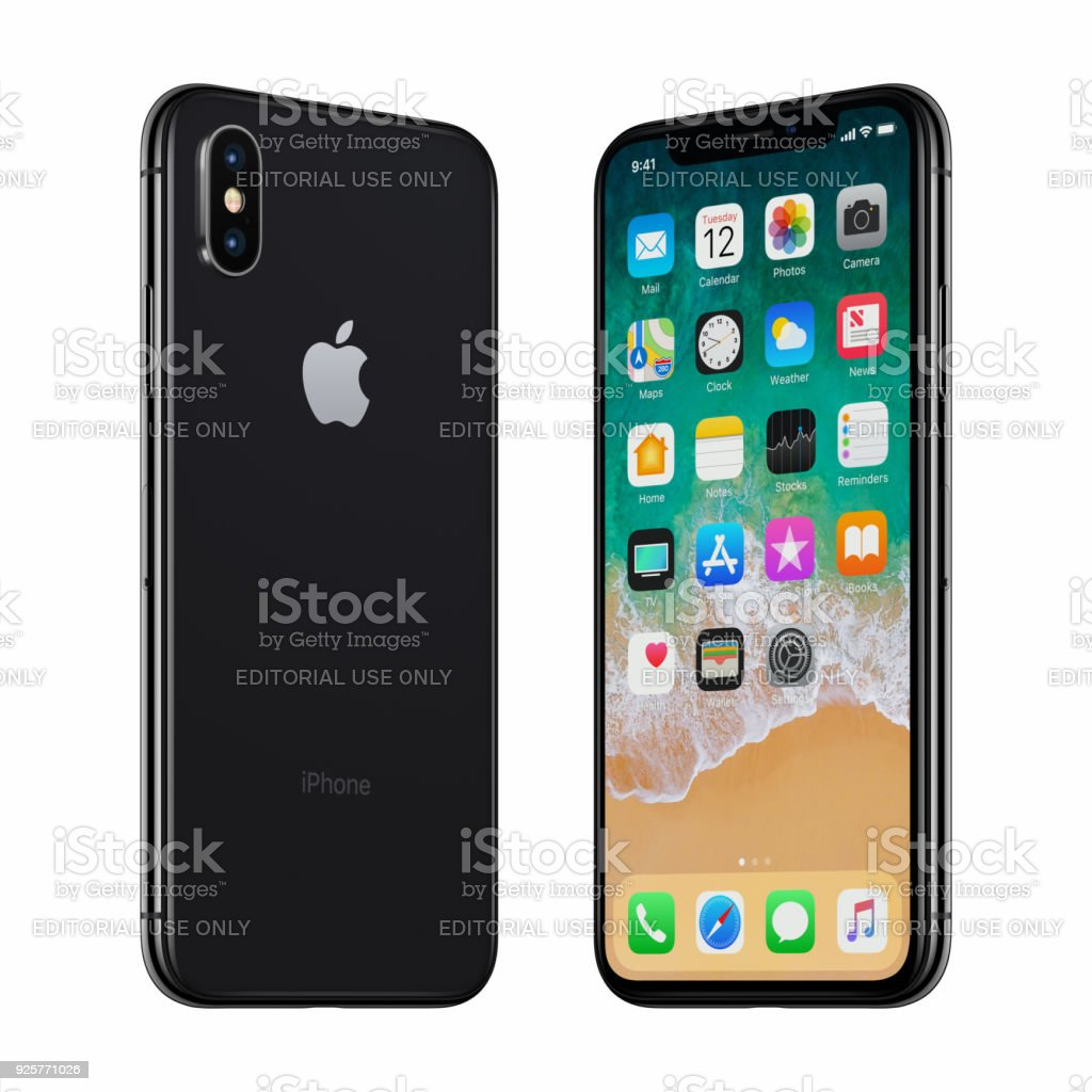 Black Apple iPhone X front side and back side turned towards each other stock photo