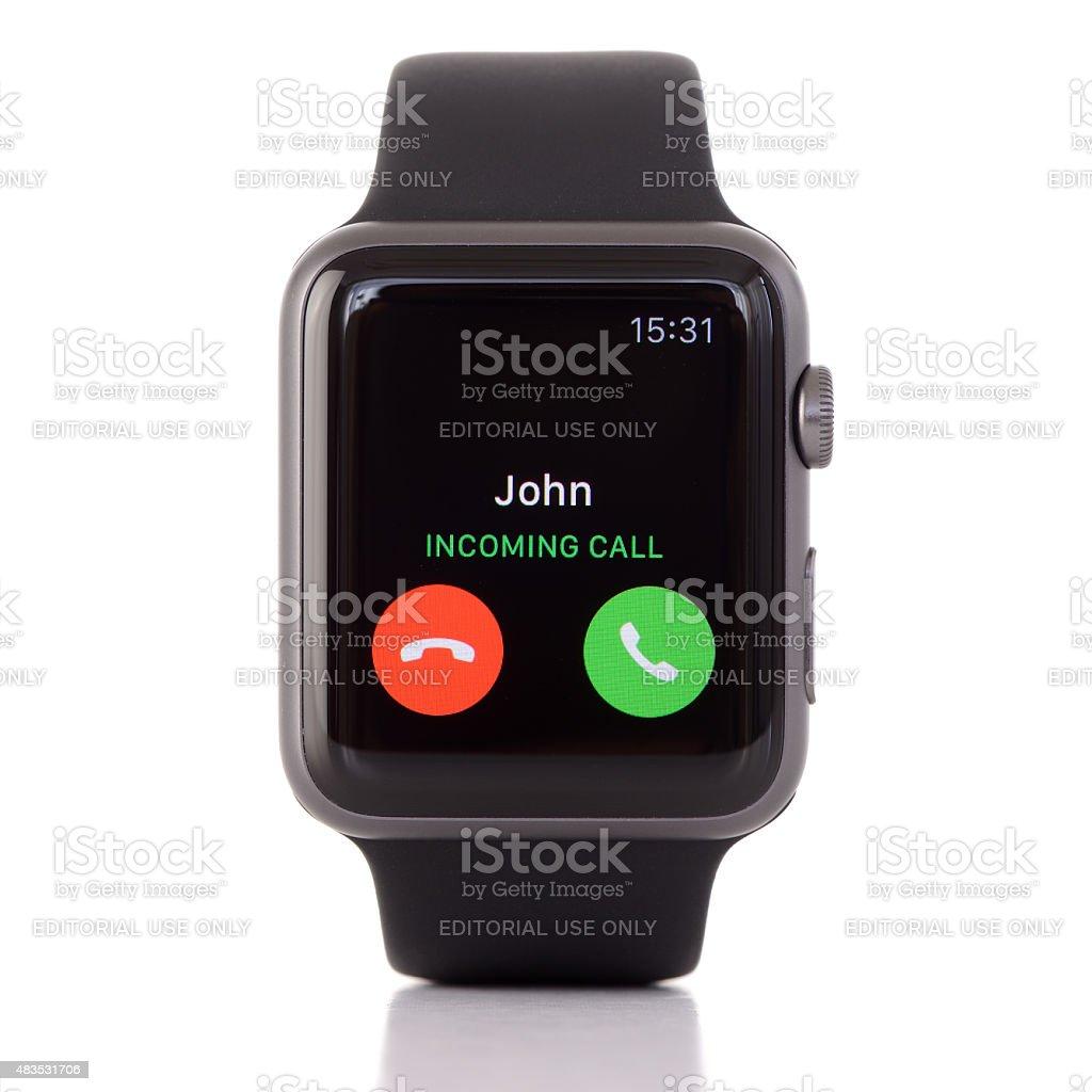 Black Apple Watch Sport on white background stock photo