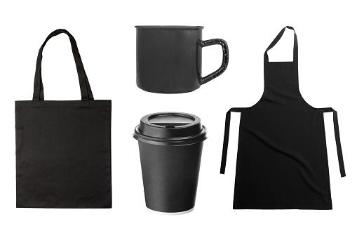 istock Black apron, tote bag, coffee cup, coffee mug on white 867273680