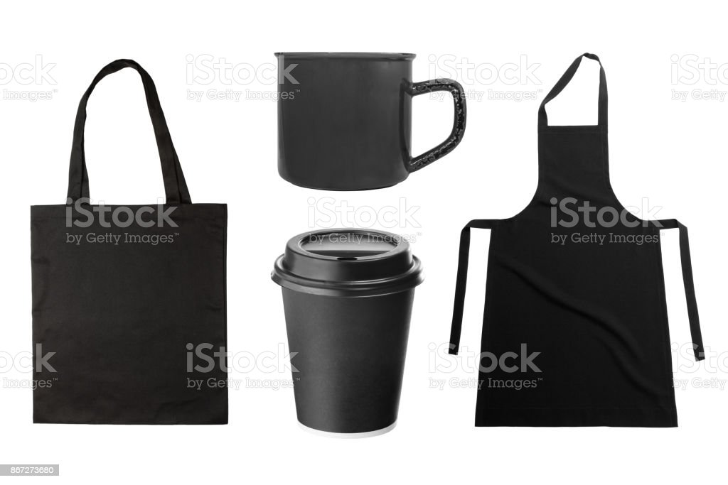Black apron, tote bag, coffee cup, coffee mug on white stock photo