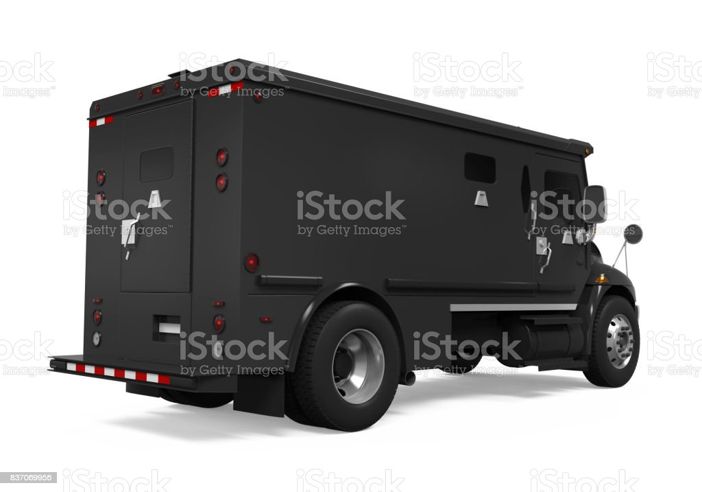 Black Armored Truck Isolated stock photo