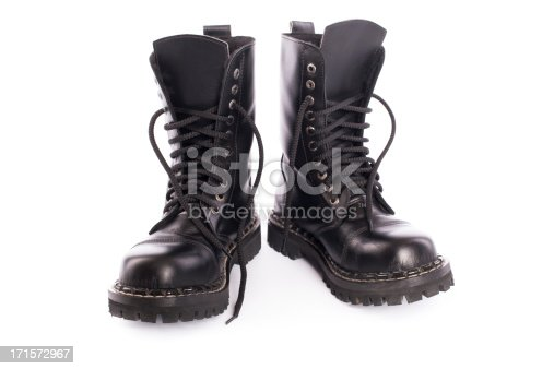 brand new black army shoes on white backgroundsee my