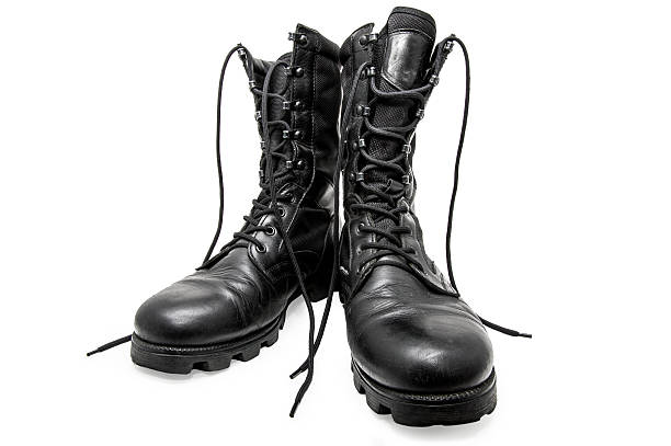 Black army shoes Black army shoes isolated on a white background. Frontal boot stock pictures, royalty-free photos & images