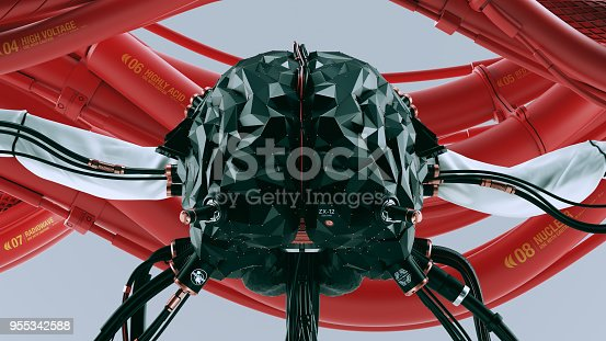 istock Black Artificial Intelligence Quantum Computer with Cables and  Red Pipes 955342588