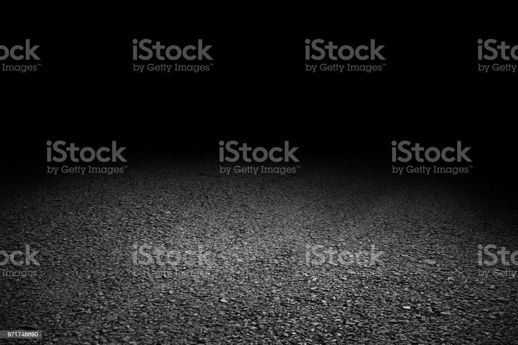 black asphalt floor and black wall background, Empty asphalt floor...