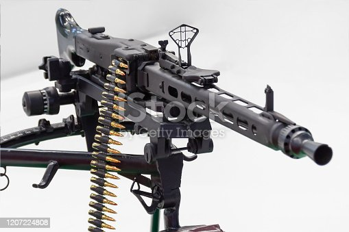 Black assault rifle weapon loaded with ammunition