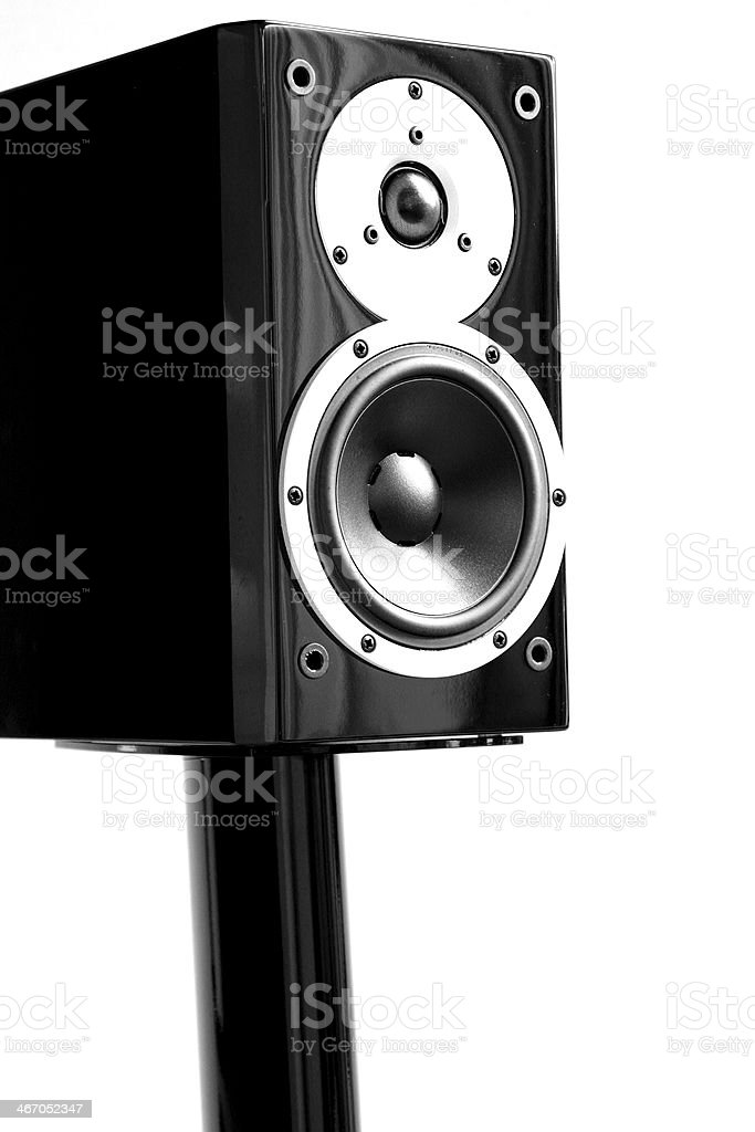 Black audio speakers on a stand royalty-free stock photo