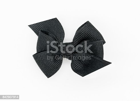 istock Black awareness ribbon on white background. 842907914