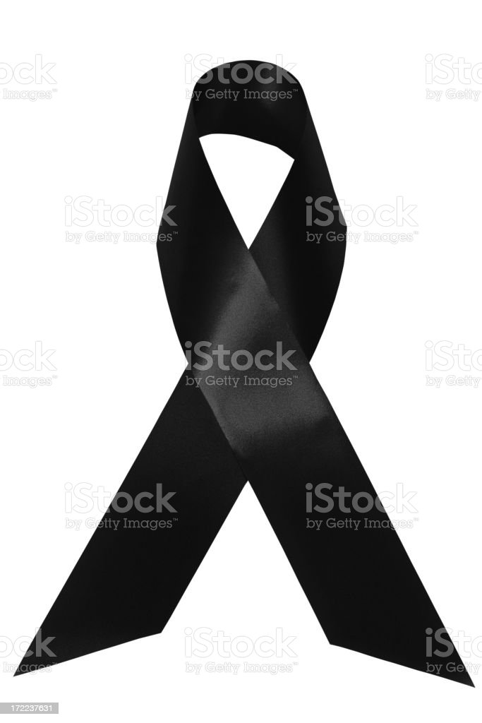 Black awareness ribbon stock photo