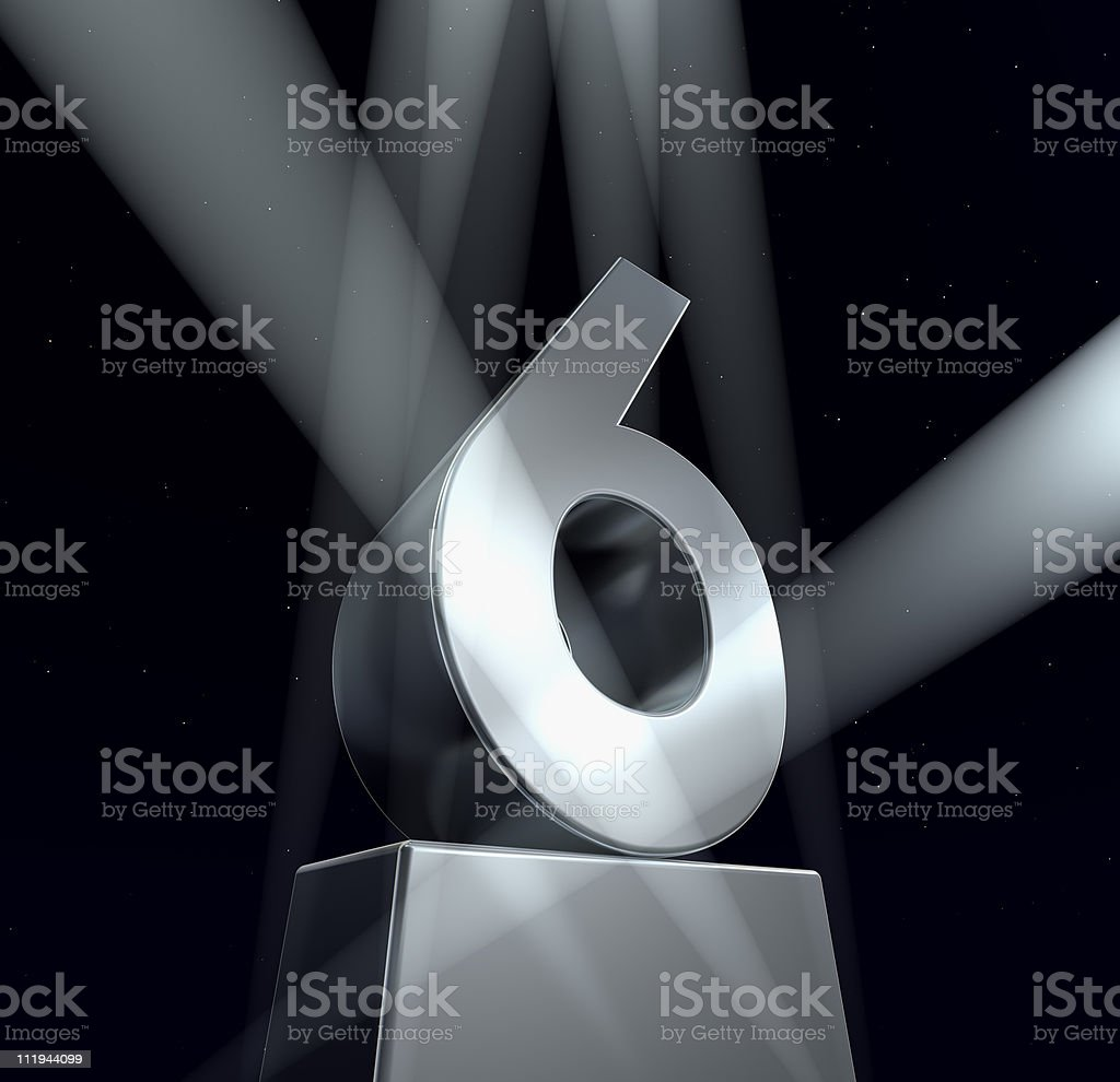 A black background and the number six royalty-free stock photo