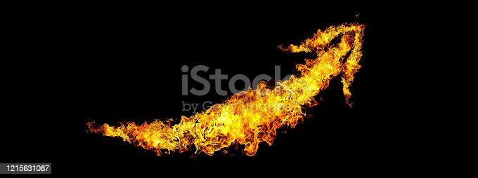 1067101542 istock photo Black background with abstract flame arrow 1215631087