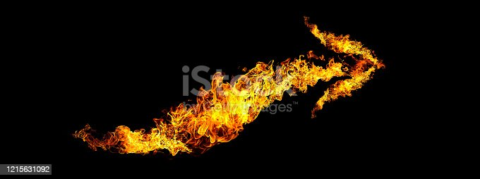 1067101542 istock photo Black background with abstract flame arrow 1215631092