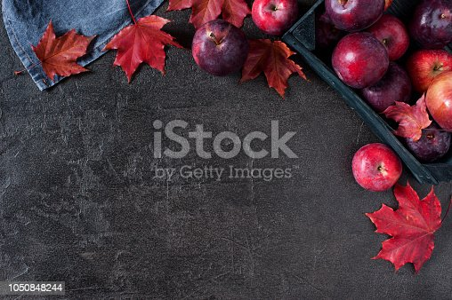 1020586746istockphoto Black background with autumn red apples and leaves 1050848244