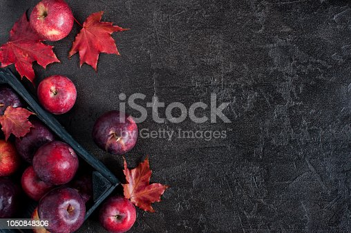 1020586746istockphoto Black background with autumn red apples and leaves 1050848306